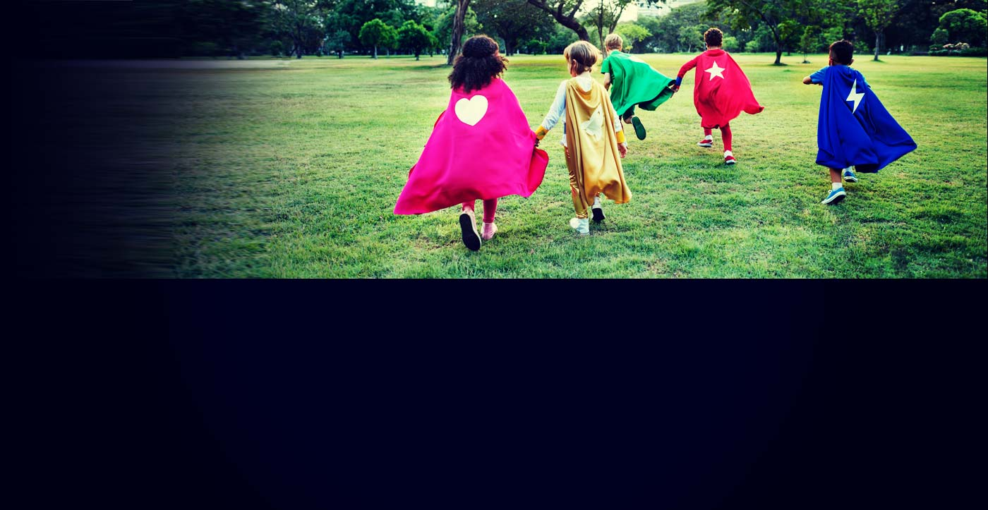 image of superhero yoga children running into the hitchin community.